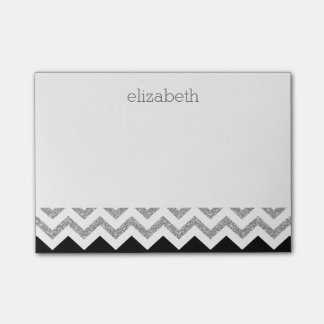 Black and Silver Glitter Print Chevrons and Name Post-it® Notes