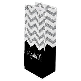 Black and Silver Glitter Print Chevrons and Name Wine Gift Bag