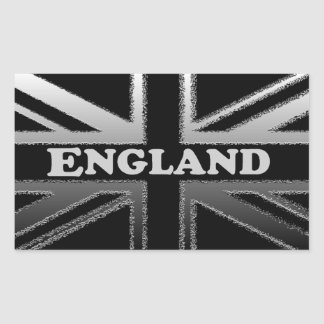 Black and Silver Grey Union Jack Flag Cases Rectangular Sticker