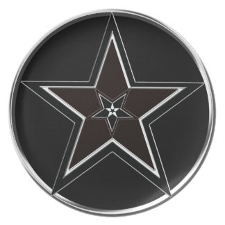 Black And Silver Pentacle with Inverted Pentagram Dinner Plate