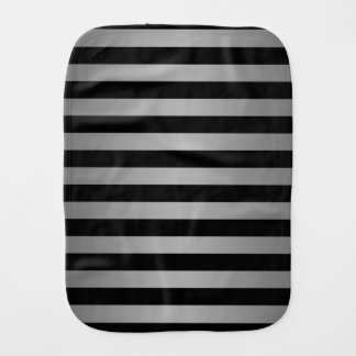 Black and Silvery Grey Stripes Pattern Baby Burp Cloth