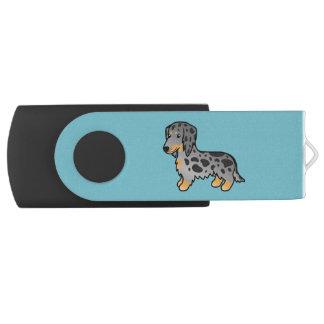 Black And Tan Dapple Long Coat Dachshund Dog USB Flash Drive