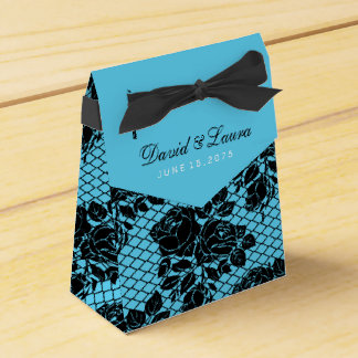Black and Teal Blue Wedding Favour Box