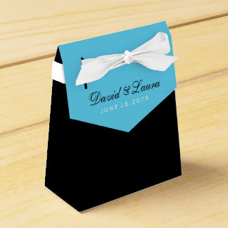 Black and Teal Blue Wedding Wedding Favour Boxes