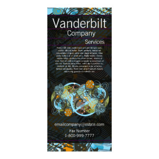 Black and Teal Paisley  Rack Card