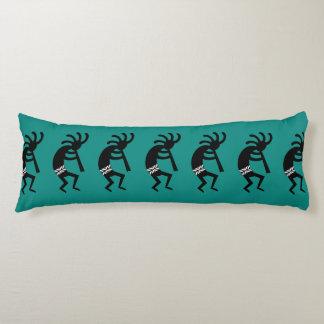 Black And Teal Southwest Kokopelli Pattern Body Cushion