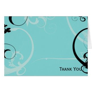 Black and Turquoise Floral Card