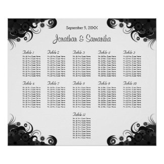 Black and White 11 Wedding Tables Seating Charts Poster