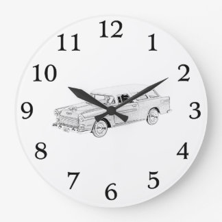 Black and White 1955 Chevy Nomad Rendering Large Clock