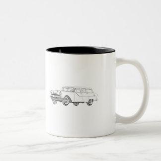 Black and White 1955 Pontiac Catalina Illustration Two-Tone Coffee Mug
