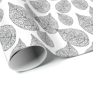 Black And White Abstract Leafs Pattern Wrapping Paper