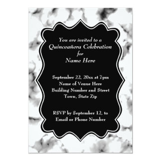 Black and White Abstract Pattern Quinceanera Card