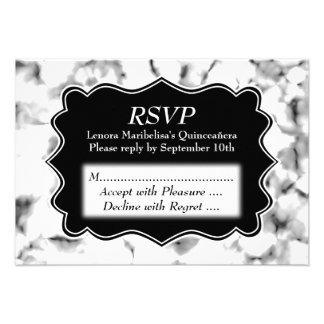 Black and White Abstract Pattern Quinceanera Invite