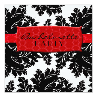 Black and White and Red Damask 13 Cm X 13 Cm Square Invitation Card