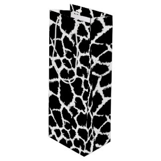 Black and White Animal Print Pattern Wine Gift Bag