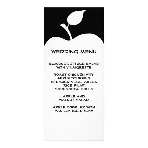 Black and White Apple Wedding Menu Personalized Rack Card