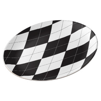 Black and White Argyle Plate