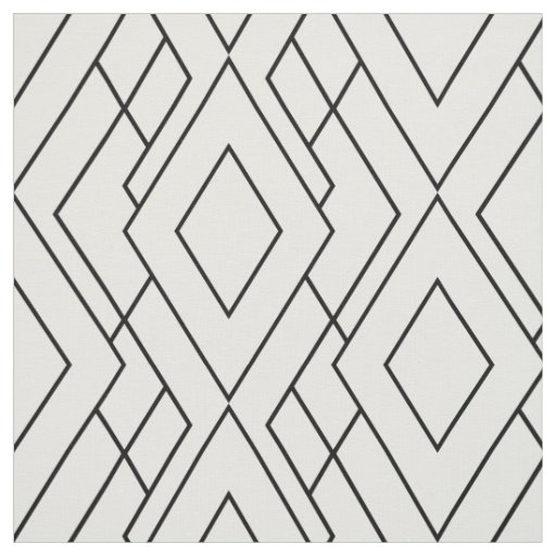 Black And White Art Deco Diamond Pattern Fabric