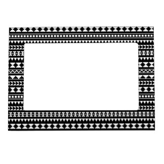 Black and White Aztec Tribal Pattern Magnetic Picture Frame