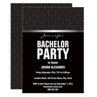 Black and White Bachelor Party Invitation
