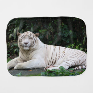 Black and White Bengal Tiger relaxed and smiling Baby Burp Cloths
