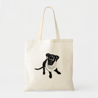 Black and White Black Lab Puppy image Tote Bag