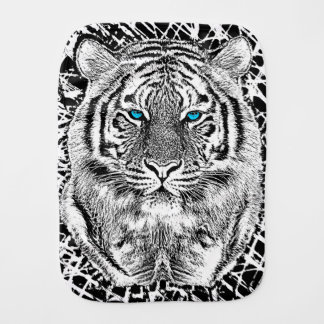 Black And White Blue Eyes Tiger Graphic Baby Burp Cloth