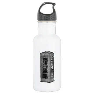 Black and White British Telephone Box Illustration 532 Ml Water Bottle
