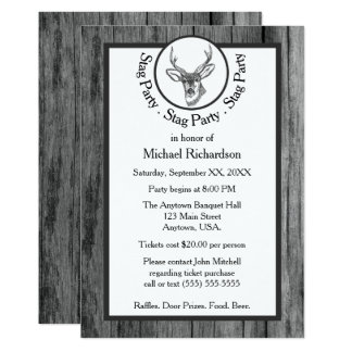 Black and White Buck Stag Party Card