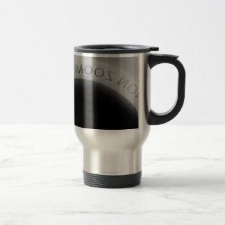 Black and white camera lens travel mug