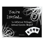 "Black and White Casino Night Invitation 4.25"" X 5.5"" Invitation Card"