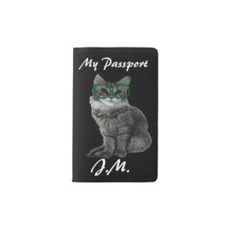 Black and white cat with green glasses pocket moleskine notebook