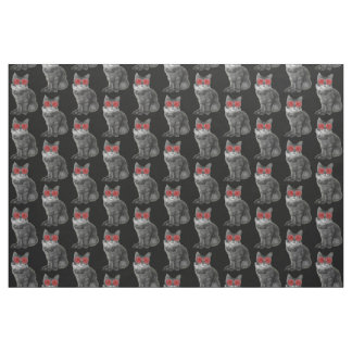 Black and white cat with red glasses fabric