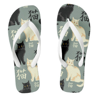 Black and white cats with japanese characters thongs