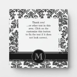 Black and White Chalkboard Damask Pattern Plaque