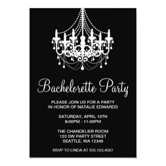 Black and White Chandelier Bachelorette Party Card