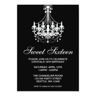Black and White Chandelier Sweet Sixteen Birthday 13 Cm X 18 Cm Invitation Card