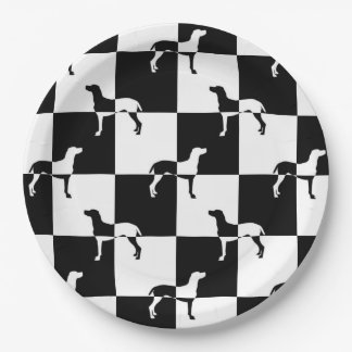 Black and White Checkerboard Weimaraner Paper Plate