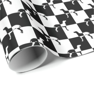 Black and White Checkerboard Weimaraner Wrapping Paper