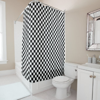 Black And White Chequered Chequerboard Pattern Shower Curtain
