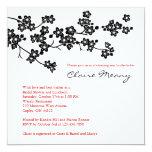 """Black and White Cherry Blossoms 5.25"""" Square Invitation Card"""