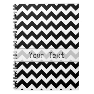 Black and White Chevron - Custom Text Spiral Note Book