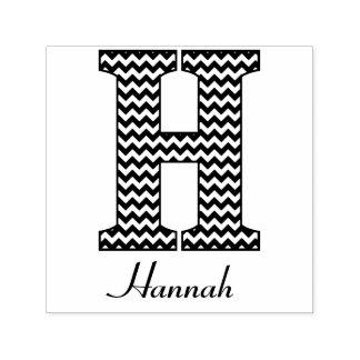 Black and White Chevron Letter H Monogram Self-inking Stamp
