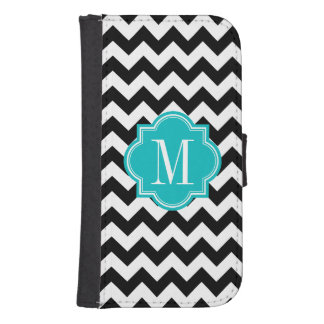 Black and White Chevron with Teal Monogram Samsung S4 Wallet Case