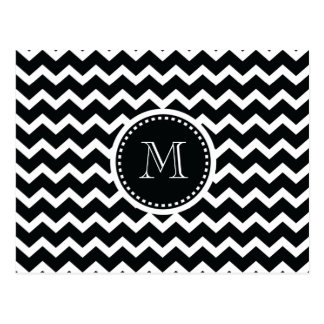 Black and White Chevron Zig Zag Retro Elegance Postcard