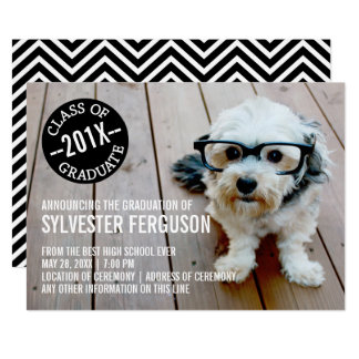 Black and White Chevrons Graduation Party Photo Card