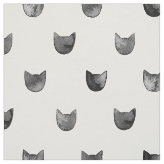 Black and White Chic Cute Cat Pattern Fabric