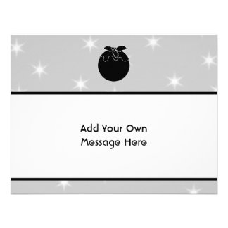 Black and White Christmas Pudding and Stars Custom Announcements