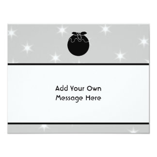Black and White Christmas Pudding and Stars. 11 Cm X 14 Cm Invitation Card