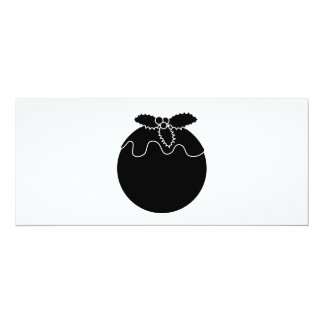 Black and White Christmas Pudding. 10 Cm X 24 Cm Invitation Card